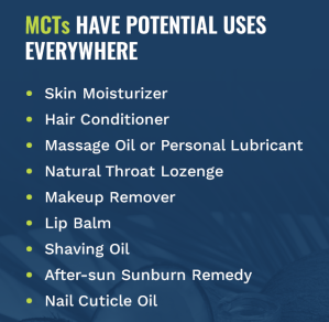 Potential uses of MCT oil
